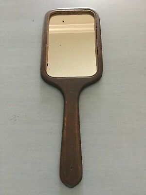 Antique Wood Hand Mirror ~ Small Size