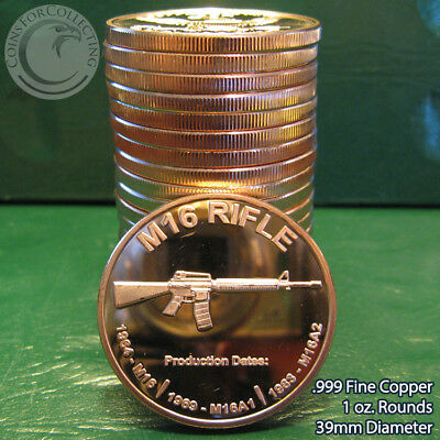 """20 """"M-16 Rifle"""" 1oz .999 Copper 20 Beautiful Rounds 1 Roll in Tube"""