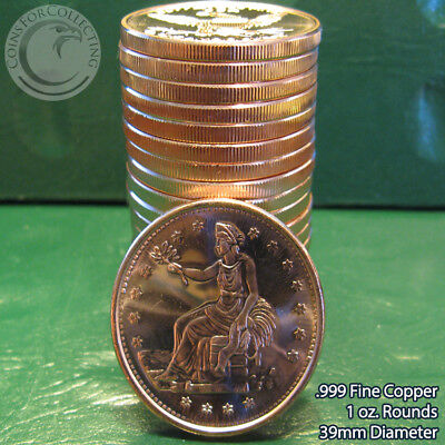 """20 """"Trade Dollar"""" 1oz .999 Copper 20 Beautiful Rounds 1 Roll Tube"""