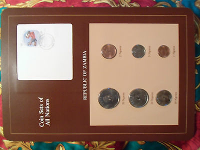 Coin Sets of All Nations Zambia w/card 1968-1983 UNC 20 Ngwee 1968 50 Ngwee 1972
