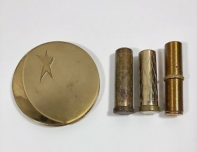 Vintage Dorothy Gray 1940s Moon Star Compact W Puff Plus Vintage Lipstick Lot!
