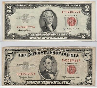 Series of 1953-C U.S. $2 & 1953-C $5 Red Seal Notes