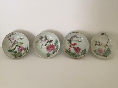 Set 4 Antique Chinese Famille Rose Porcelain Small Bowl Birds Nr