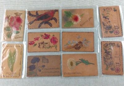 Antique Vtg Collection of Leather Postcards Lot Flowers