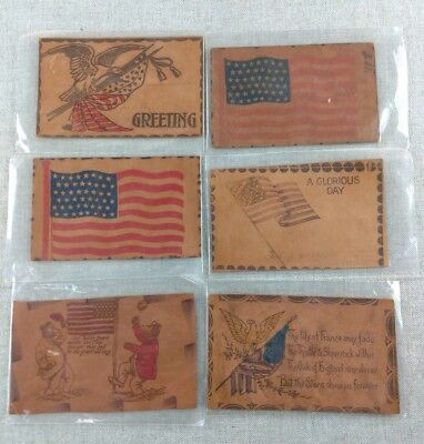 Antique Vtg Collection of Leather Postcards Lot American Flags
