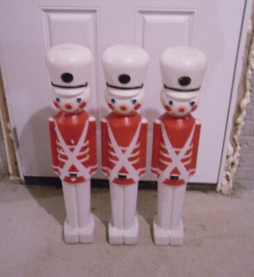 "vtg 30"" DRUMMER BOY set of 3 Christmas Blow Mold Union Products plastic decor"