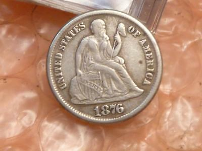 1876-CC Liberty Seated Silver Dime Carson City XF Details Full Liberty #1C