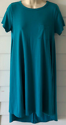 f75c5fde7a3 LULAROE Carly T Shirt Dress Size XS Solid Teal Green Pocket Hi Low Hem Flowy