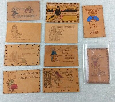 Antique Vtg Collection of Leather Postcards Lot Humour Travel