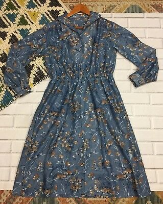 Vintage Dress 60s Sheer Farmers Market Floral Nature Small
