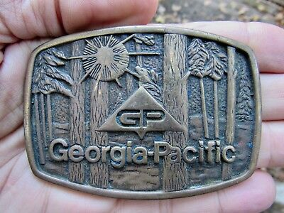 Vtg GEORGIA-PACIFIC Belt Buckle 1983 Paper BTS Atlanta GP SIGN Brass RARE VG+