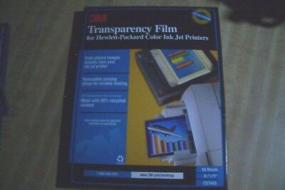 3M Transparency Film HP Color Ink Jet Printers pck 50 sheets +15 More Sheets