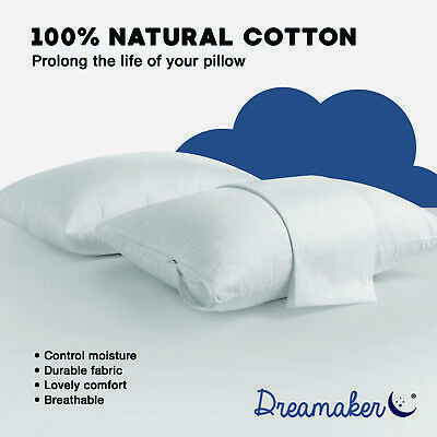 STANDARD 4x or 8x New Natural Cotton Cover Pillow Protector Zip Closure 48x73 cm