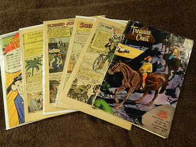 6 Rare Vintage Gold & Silver Age Coverless TREASURY CHEST Of Fun Fact Comics