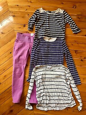 Casual Maternity Clothes Bundle - Size 10 - Stripes and Jeans