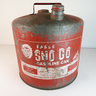 Vintage Eagle Sno Go 6 Gallon Metal Gasoline Can - Model 509 Gas Can Snowmobile