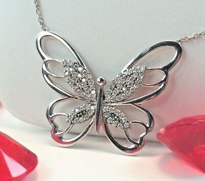 08ce28bc3 Butterfly Solid 925 Sterling Silver Necklace, Big, Shiny, Woman Gift Nature  CZ