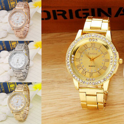 Fashion Women Luxury Crystal Dial Stainless Steel Analog Quartz Wrist Watch