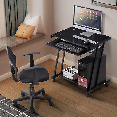 Computer Desk Office Home Laptop PC with 4 Wheels Roll Table Workstation