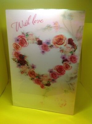 With Love Happy Anniversary Card, Roses In Heart Shape, Large Card, Premium