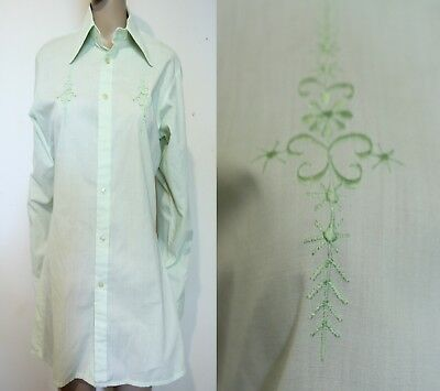 LIME GREEN RETRO Embroidered Formal Shirt 60s Fat pointy collar rockabilly tux M