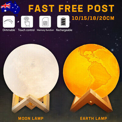 Dimmable 3D Magical Moon Lamp USB LED Night Light Moonlight Touch Sensor Lamp