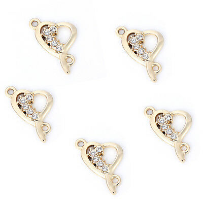 10Pc Gold Plated Heart/&Flamingo Crystal Connector Charm DIY Ornament Making