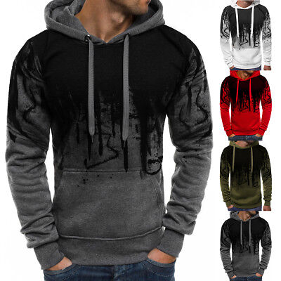 Men Winter Slim Casual Hoodie Warm Hooded Sweatshirt Coat Jacket Outwear Sweater