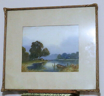 Beautiful Vintage Watercolour By C Arnold 'peace Of Evening' Early 20Th Century