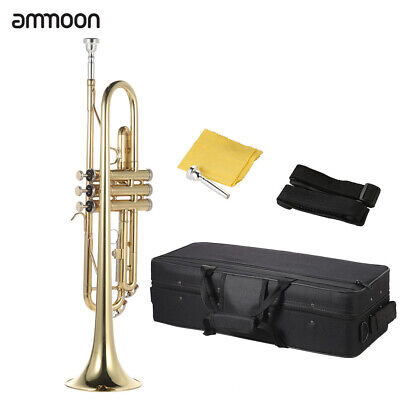 For Beginners Trumpet Bb B Flat Brass Gold with Accessories Case Gloves Straps
