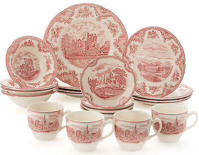 Johnson Bros Old Britain Castles Pink 20 Piece Dinner Set - New/Boxed