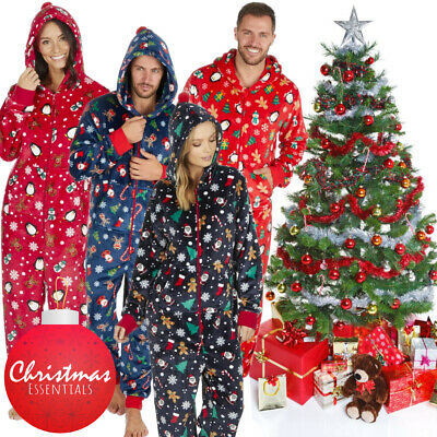 1Onesie Matching Women's Ladies Mens Christmas Fleece All in One Pyjamas Pyjama
