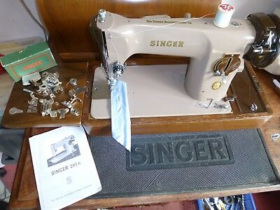 Classic Singer Heavy Duty 201K Electric Sewing Machine  With Case + Insts,