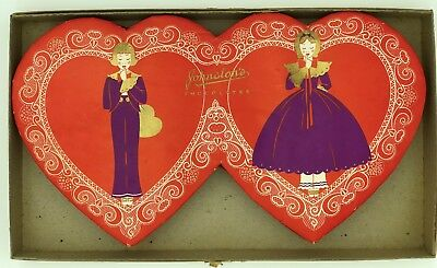 Fabulous Vintage Double Twin Heart Valentine Candy Box Johnston's