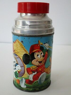 Vintage Mickey Mouse Club Metal Aladdin Thermos W/ Rare Red Cap!