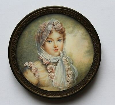 ANTIQUE FRENCH 19TH C REGENCY ANTIQUE PORTRAIT MINIATURE OF Madame