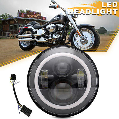 "Black 7"" LED Daymaker Projector Style Headlight Fit Harley Touring"
