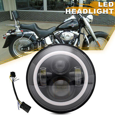 "Black 7"" LED Daymaker Projector Style Headlight Fit Harley Touring Street Glide"