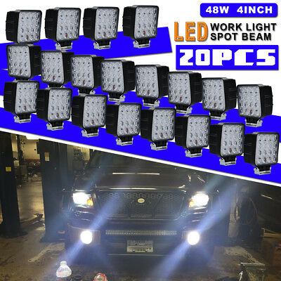 20x 4inch 48W LED Work Light Pods Spot Offroad ATV SUV Jeep Truck Daytime Lights