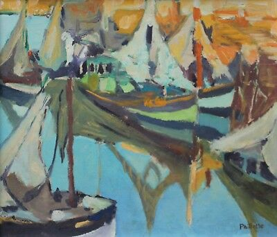 Gustave Paillette (1917-1914) Signed French Oil - Boats At Sunset - Cote D'azur