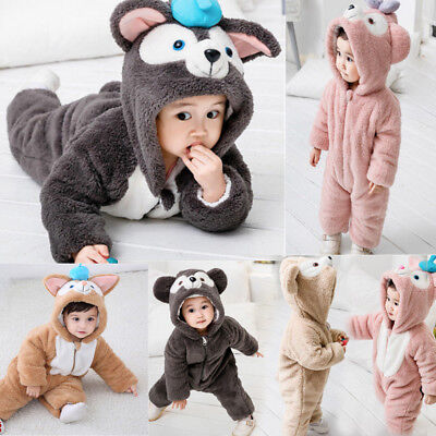Baby Rompers Winter Clothes Newborn Hooded Jumpsuit Warm Bodysuit Costume Outfit