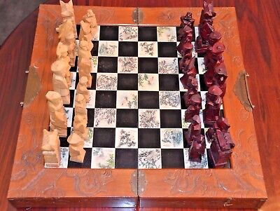 Chess Set Asian Oriental   Hand Carved Inlaid Tiles Wood Drawers - Was $140