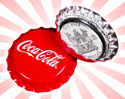 2018 Fiji Coca-Cola Bottle Cap-Shaped 6g Silver Colorized Proof $1 Coin