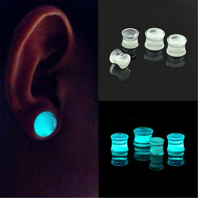 Glow in the Dark Liquid Filled Ear Plugs Double Flared Saddle Ear Gauges Nice