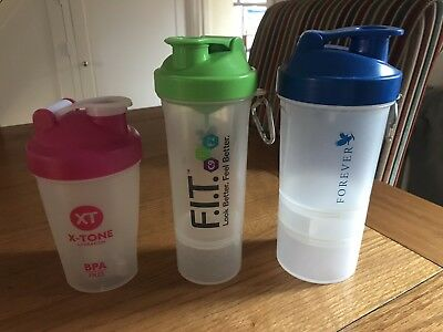 Three Protein Drink Shakers / Mixers / Water Bottles - Two Used, One New