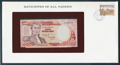 Colombia: 1983 100 Pesos Note & Stamp Cover, Banknotes Of All Nations Series