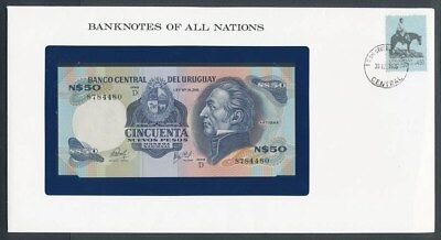 Uruguay: 1981 50 Pesos Banknote & Stamp Cover, Banknotes Of All Nations Series