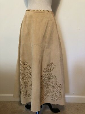 550db51645 Peck & Peck Womens Skirt Size 14 Suede Western Long Beige Gored Leather  Accents