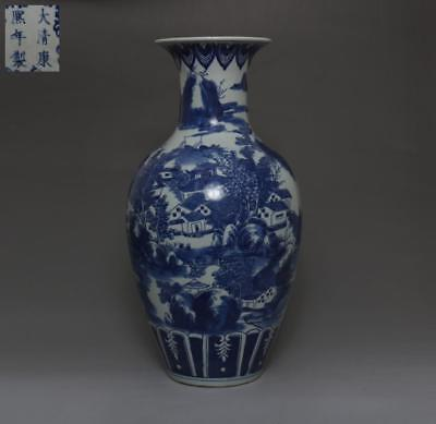 Rare Chinese Old Blue And White Porcelain Vase With Kangxi Marked 39Cm (536)