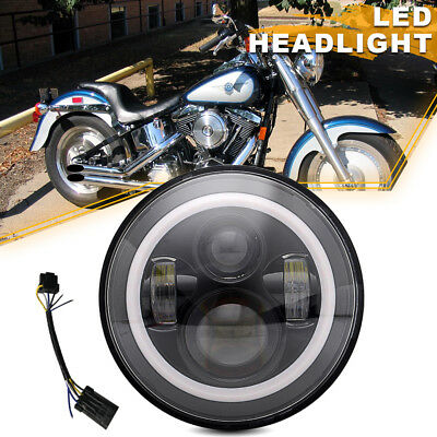 "Black 7"" LED Daymaker Projector Style Headlight Fit Harley Road King"